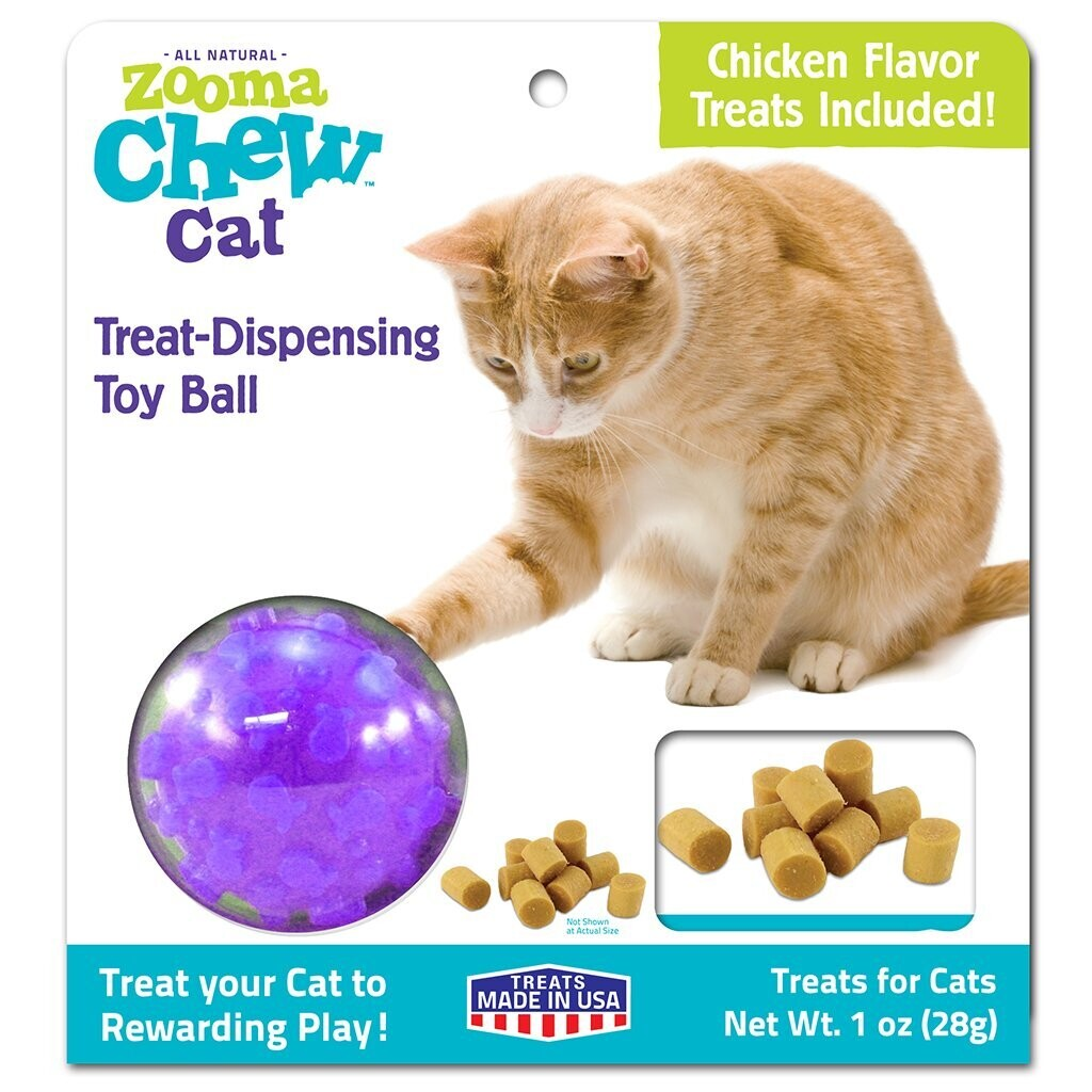 ZOOMA CHEW CAT TREAT DISPENSING TOY BALL WITH TREATS