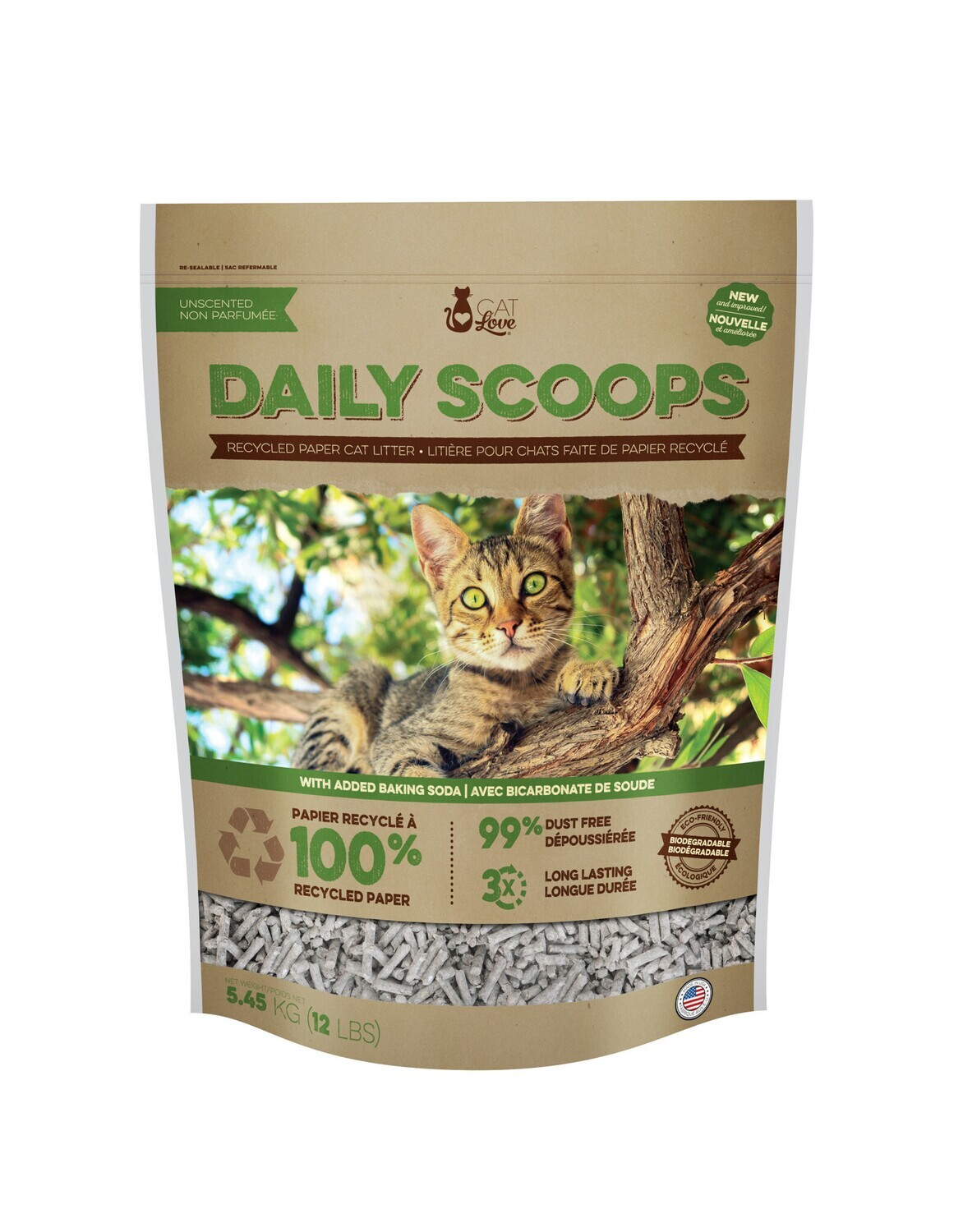 CAT LOVE DAILY SCOOPS PAPER LITTER 12 LB