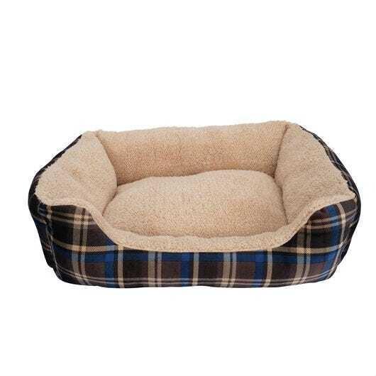 DOGIT DREAM WELL DOG BED - BLUE TARTAN SMALL