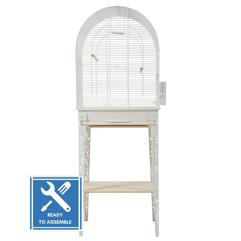 CHIC PATIO BIRD CAGE & STAND - WHITE