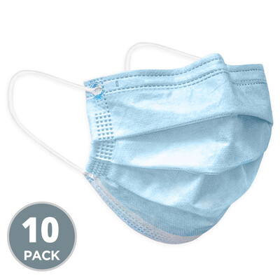 3 PLY DISPOSABLE FACE MASKS WITH ELASTIC EAR LOOPS (50 CT)