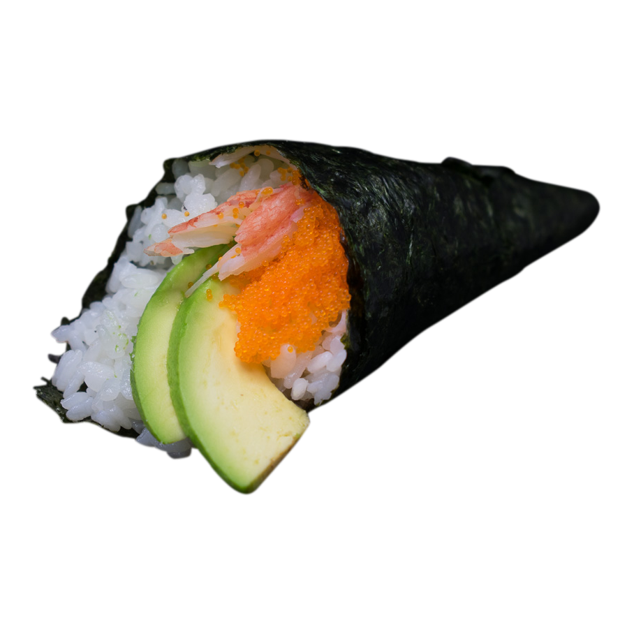 Handroll California: Snow Krab, avocado, mayo, fishroe