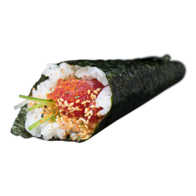 Handroll Spicy Tuna:  komkommer, shichimi,| sesam, mayo