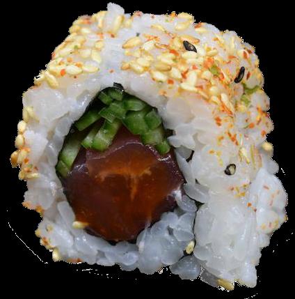 原始的辣金枪鱼:金枪鱼,香料酱,黄瓜,香油,芝麻(8个)