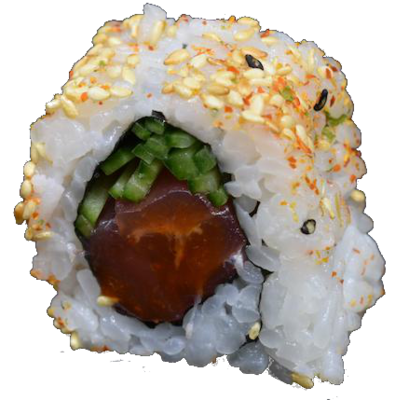 Original Spicy Tuna: tuna, spice sauce, cucumber, sesame oil, sesame (8 pcs)