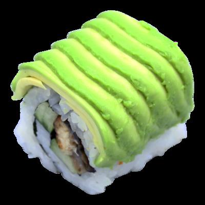 Dinamita: anguila | Teriyaki | Pepino | Salsa picante de aguacate | Sésamo (8 piezas)