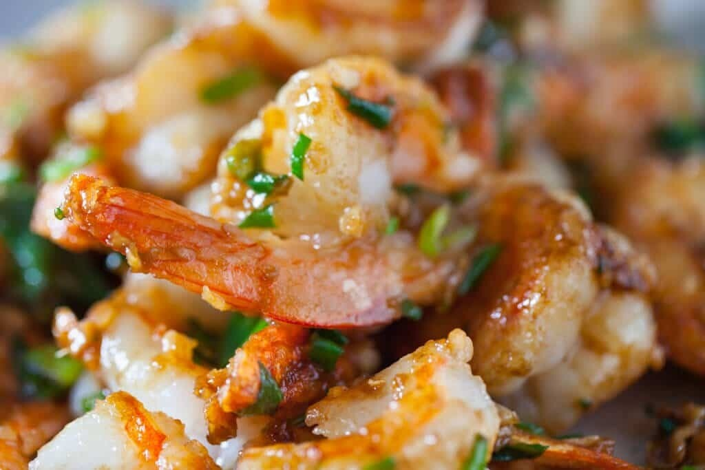 Creamy Spicy Shrimp: Tiger Shrimp | creamy spice sauce | shallot | oxheart cabbage