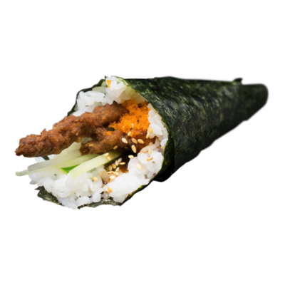 Handroll Softshellcrab, kuit, teriyaki, komkommer