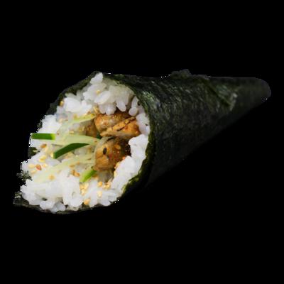 Anguille roulée à la main: anguille, concombre, sésame, teriyaki