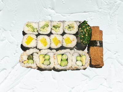 Vegan: Inari | Wakame | Kappamaki | Picklemaki | Yasairoll (14 st)