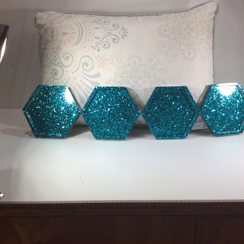 Hexagon acrylic coasters