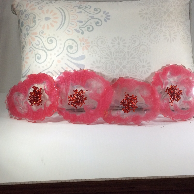 Flower geode slice coasters