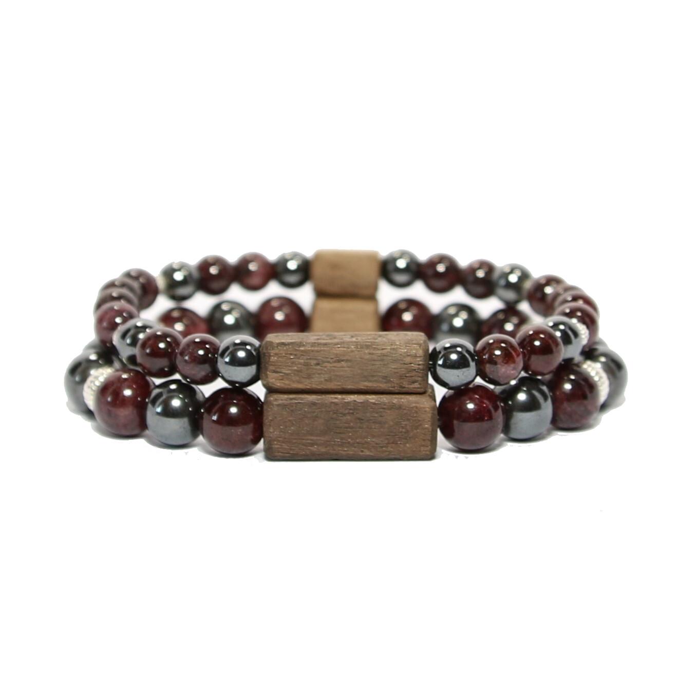 """Bracelets de couple """"Énergie""""- Pierres fines Hématite/Grenat, argent 925, bois"""
