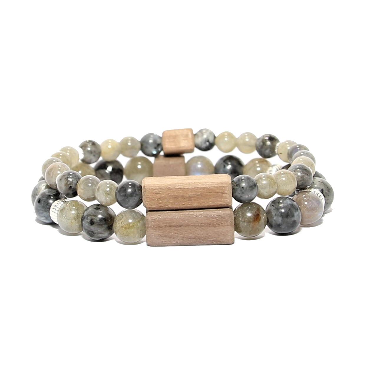 """Bracelets de couple """"Protection"""" - Pierres fines Labradorite/ Larvikite, argent 925, bois"""