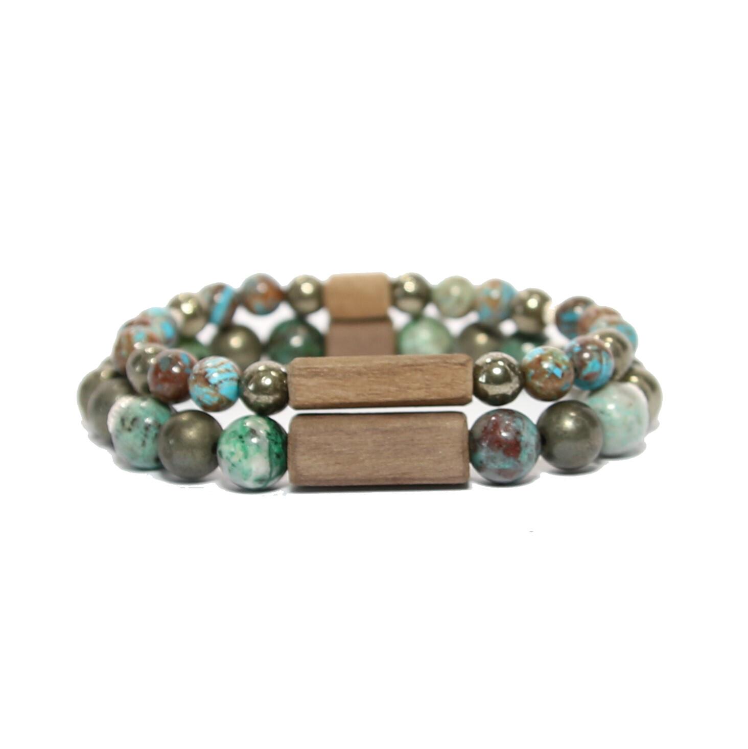 """Bracelets de couple """"Parfait"""" - Pierres fines Chrysocolles/Pyrite, argent 925, bois"""