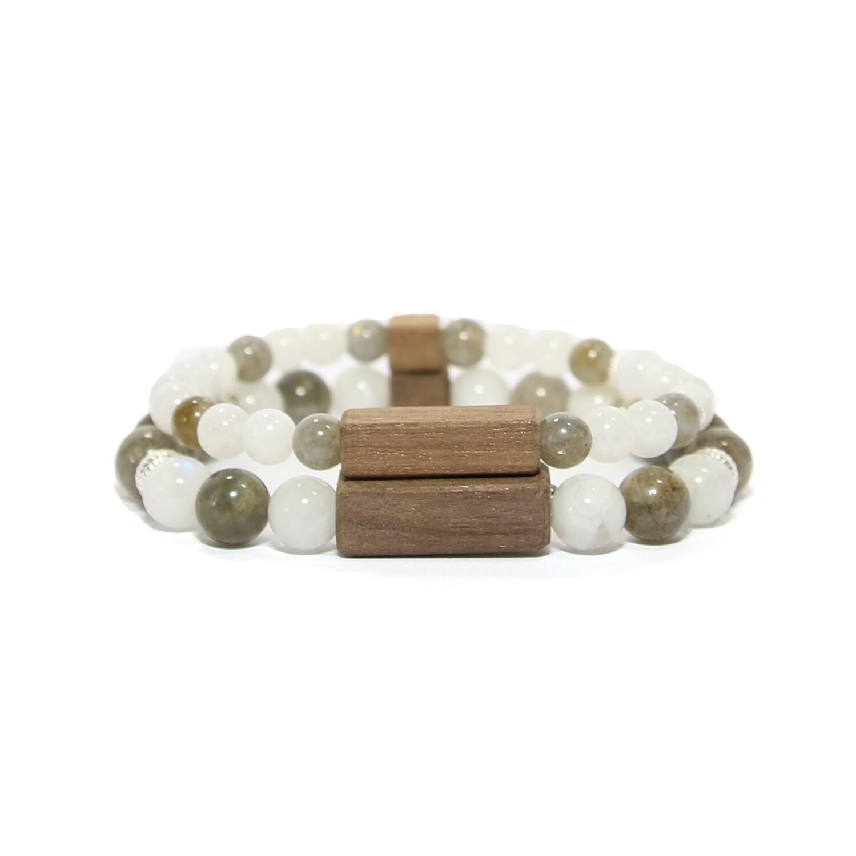 """Bracelets de couple """"Sérénité"""" - Pierres fines Pierre de Lune/Labradorite, argent 925, bois"""
