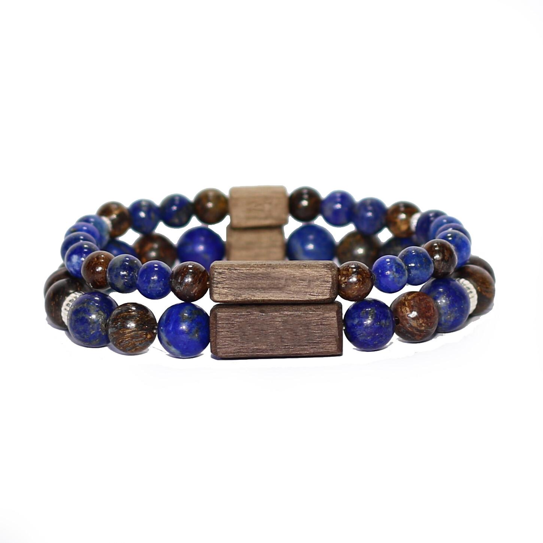"""Bracelets de couple """"Douceur et Paix"""" - Pierres fines Lapis-Lazuli/Bronzite, argent 925, bois"""
