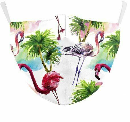 Community Maske Flamingo mit Palmen Erwachsene