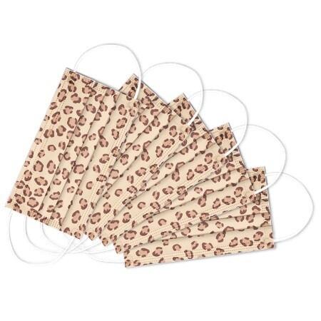 Mundnasen-Schutz 3-lagig Leopard naturel - 10 Stück