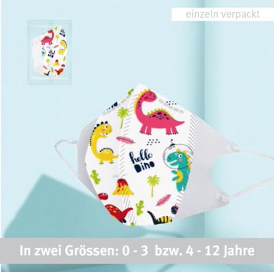3-lagiger Mundnasenschutz Dino bedruckt vorgeformt Baby und Kinder (Einweg) - 5 Stück