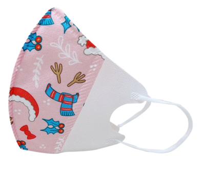 3-lagiger Mundnasenschutz Christmas rot bedruckt vorgeformt Kinder (Einweg) - 5 Stück