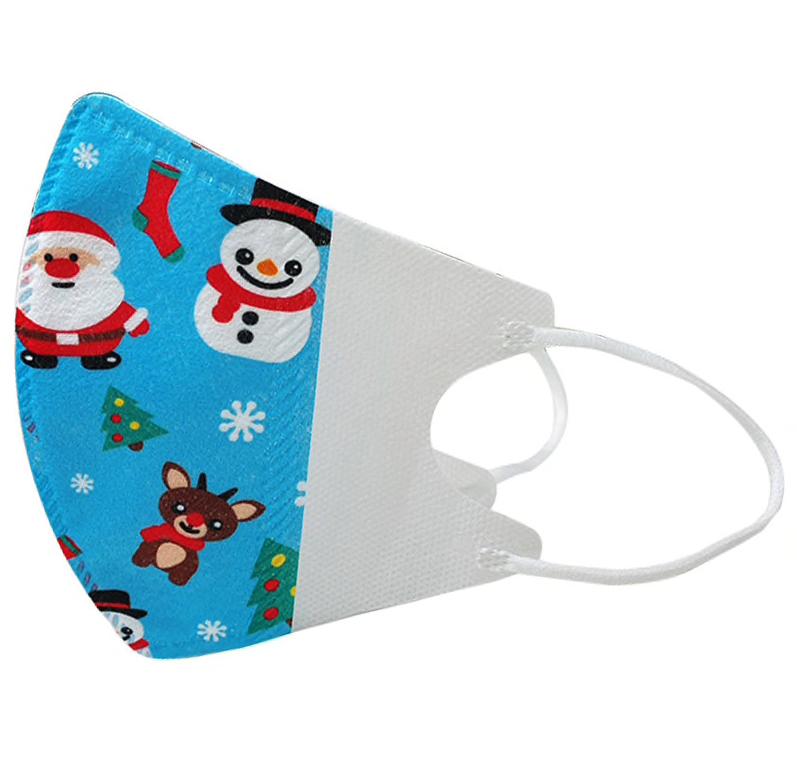 3-lagiger Mundnasenschutz Christmas blau bedruckt vorgeformt Kinder (Einweg) - 5 Stück