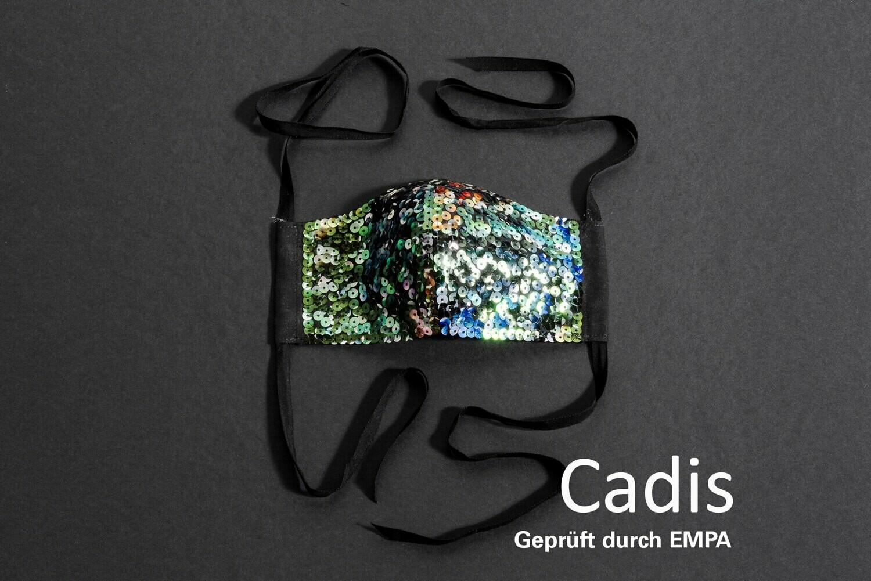 Empa-geprüfte Mund-Nasen-Maske Paillettenstickerei 4 Varianten - 1 Stück