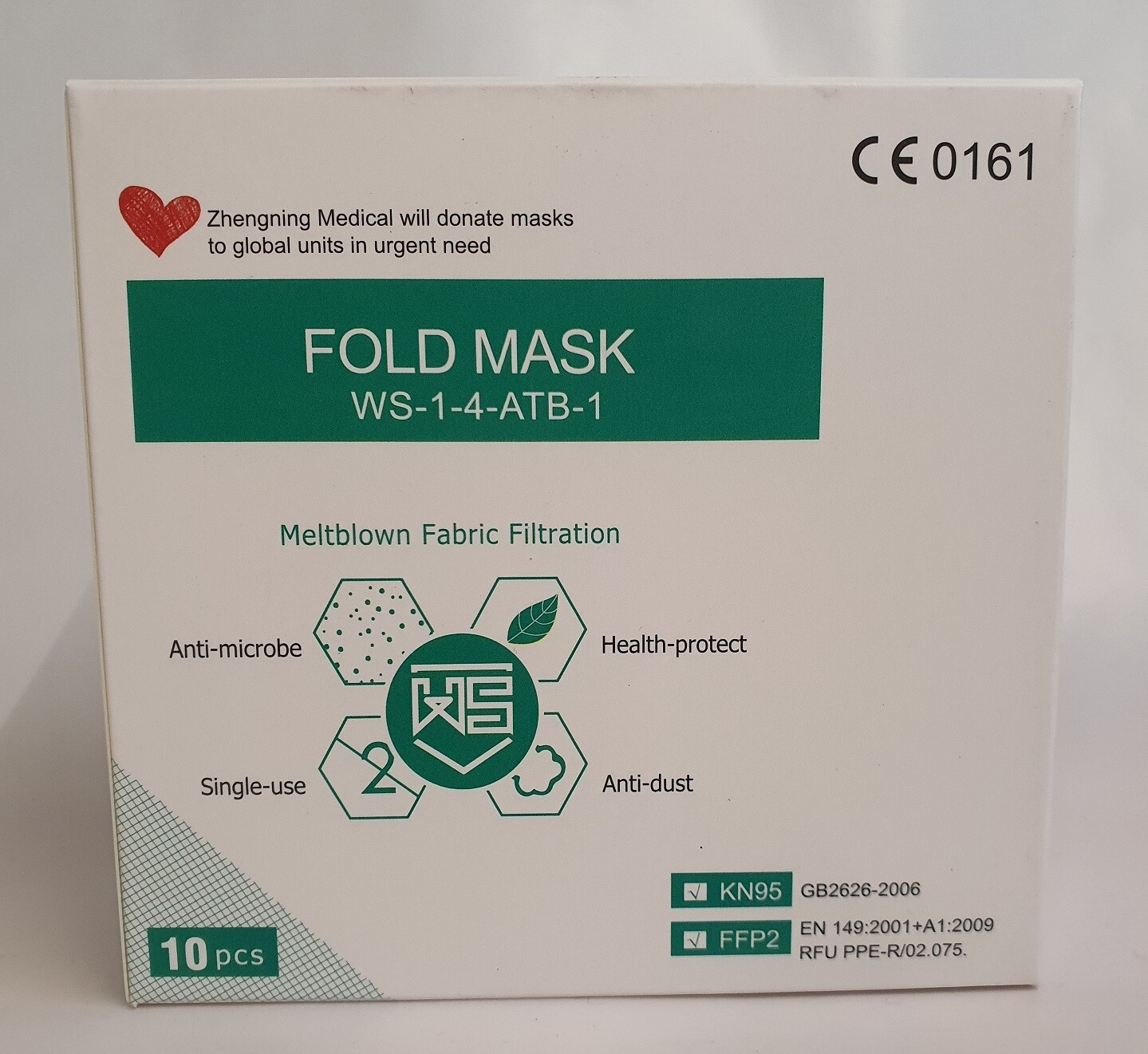 Zertifizierte Premium FFP2-Atemschutzmaske ohne Ventil (FFP2 und KN95) - 10 Stück