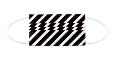 Mundnasen-Schutz 3-lagig SW diagonal gestreift - 10 Stück