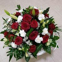 Coussin rose rouge et blanc