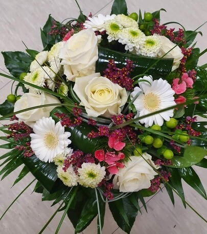Bouquet rond blanc/rose