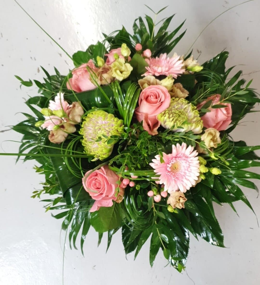 Bouquet rond rose vert (taille M)