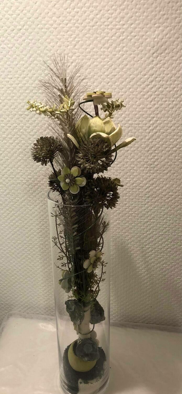 Composition sec et soie, vert/blanc