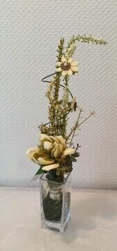 Composition en sec et soie effet fleurs séchées