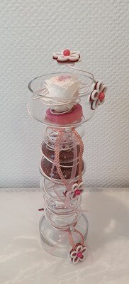 Rose éternelle vase haut avec formes décoré
