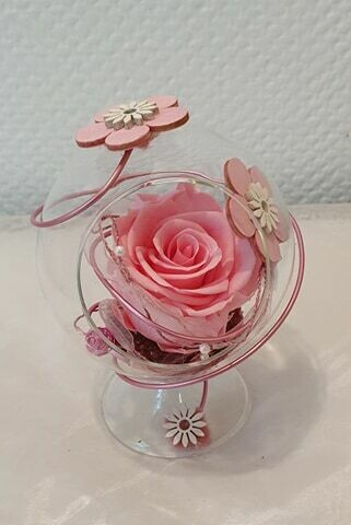 Rose éternelle vase boule sur pied