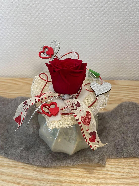 Rose éternelle rouge vase en boule
