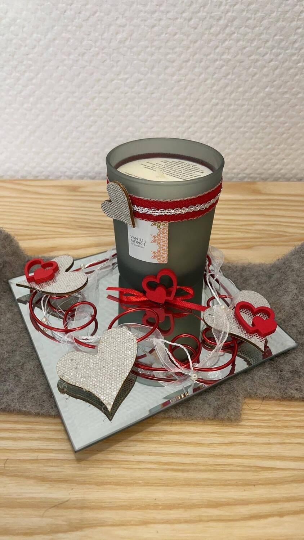 Bougie senteur vanille/monoï décorée
