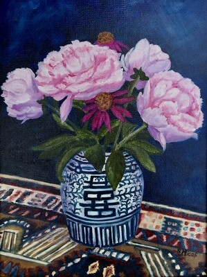 Peonies in Ginger Jar