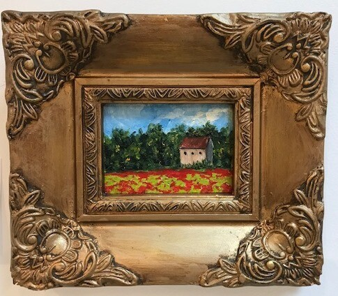 Poppies in Provence in vintage frame