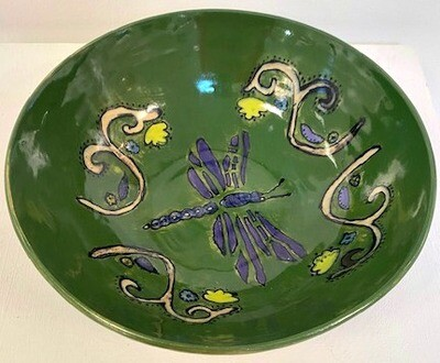 Green Bowl with Dragonfly