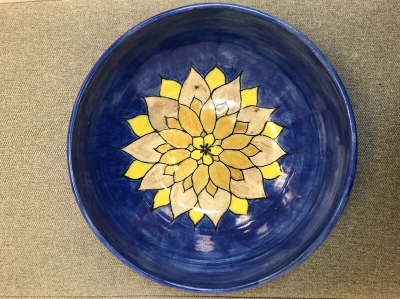 Blue Bowl with Yellow Flower