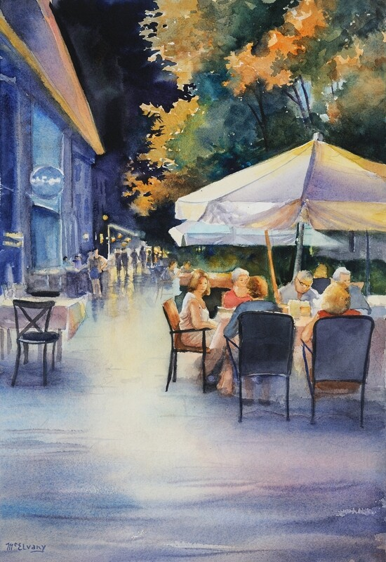 Evening Under the White Umbrella