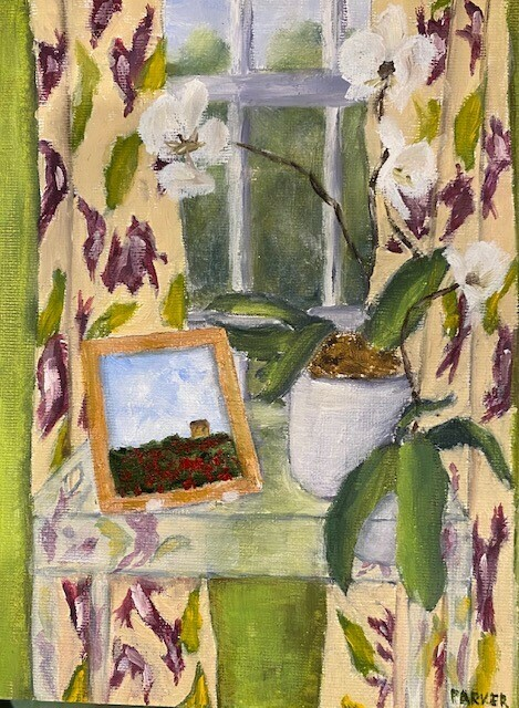 Orchids and Provence Painting in the Window
