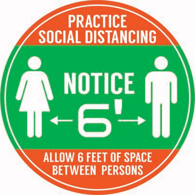 Notice - Social Distance Dot (Pack of 6)