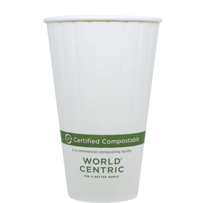 Case of 1000 White Paper Hot Cups 16 oz