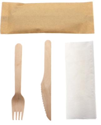 Birchwood Fork, Knife and Napkin Cutlery Set - case 250ct