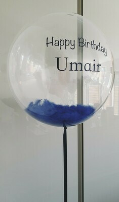 Helium filled personalised balloon with feathers inside. Arrives Inflated