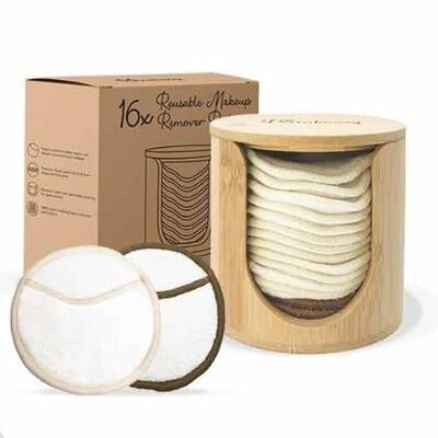 Bamboe Houder met Wasbare Wattenschijfjes Wit