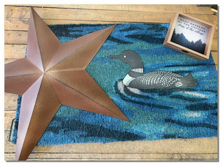 GIFT PACK - Front Door Mat - Loon Pattern, Star, Light Up Cottage Plaque